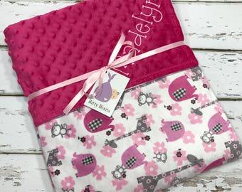 Elephant baby blanket baby girl blanket baby shower gift minky blanket girl baby shower double minky blanket Pink and grey blanket