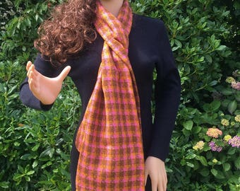Burnt orange and brown wool tweed scarf