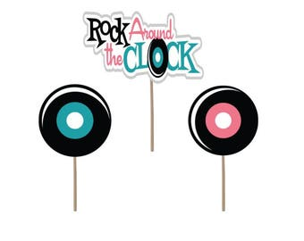 50's theme cupcake topper, 50's theme party, 50's cake topper, 50's picks, 50's cake decoration, Rock around the clock cupcakes