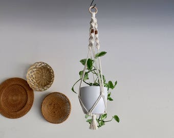 CHARITY DONATION Classic White Macrame Plant Hanger with Copper