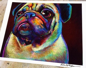 Colorful Pug Dog Art Print by Artist Robert Phelps-pug art, cute pug print, pug painting, gift for pug lover, pug decor, cute dog art, puppy