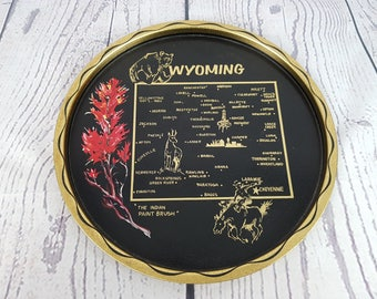 Vintage Wyoming State Map Landmarks United States USA Decorative Tin Tray Plate Platter Ornament Trip Souvenir Holiday Gift