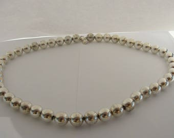 "Tiffany & Co Sterling Silver 18"" 10mm Ball Bead Necklace"