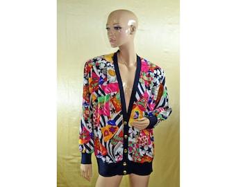 Vintage Fink ® Modell women jacket colorful gold buttons