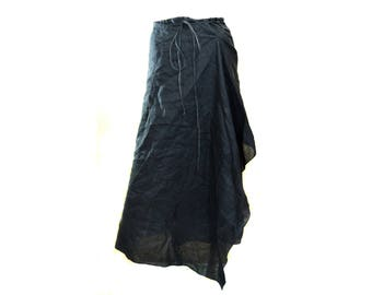 Vintage United Colors of Benetton women long skirt black linen Made in Italy