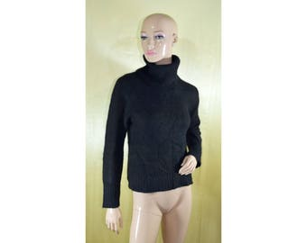 Vintage women turtleneck sweater pullover blouse black wool and angora