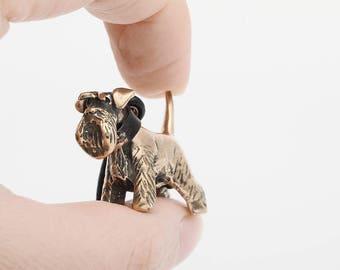 Vakkancs Schnauzer minisculpture keychain (3D solid bronze)