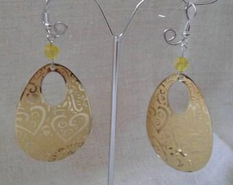 Yellow heart oval earrings