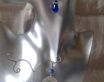 "Earrings ""silver disc and blue beads"""