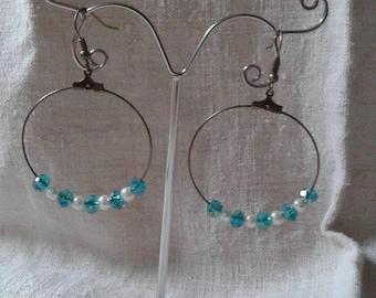 hoop earrings blue and ivory