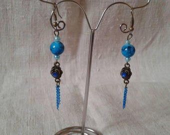 Blue Pearl and bronze earrings