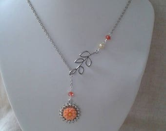"necklace ""silver leaf and orange flower"""