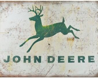 """Porcelain Look John Deere Tractors 10"""" x 7"""" Retro Look Metal Sign"""