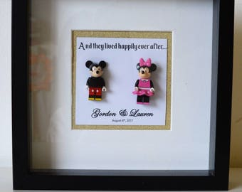 Shadow Box Frame//Disney//Minifigure//Mickey Mouse/Minnie Mouse//Gift//Personalise//Wedding//Anniversary//Engagement//Love//Couple//Lego