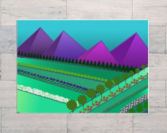 Mountains, Gardens, Landscape Art, Field of Dreams, Bright Colours, Printable, Instant Download, Digital Download, Multi Sizes, Digital Art,