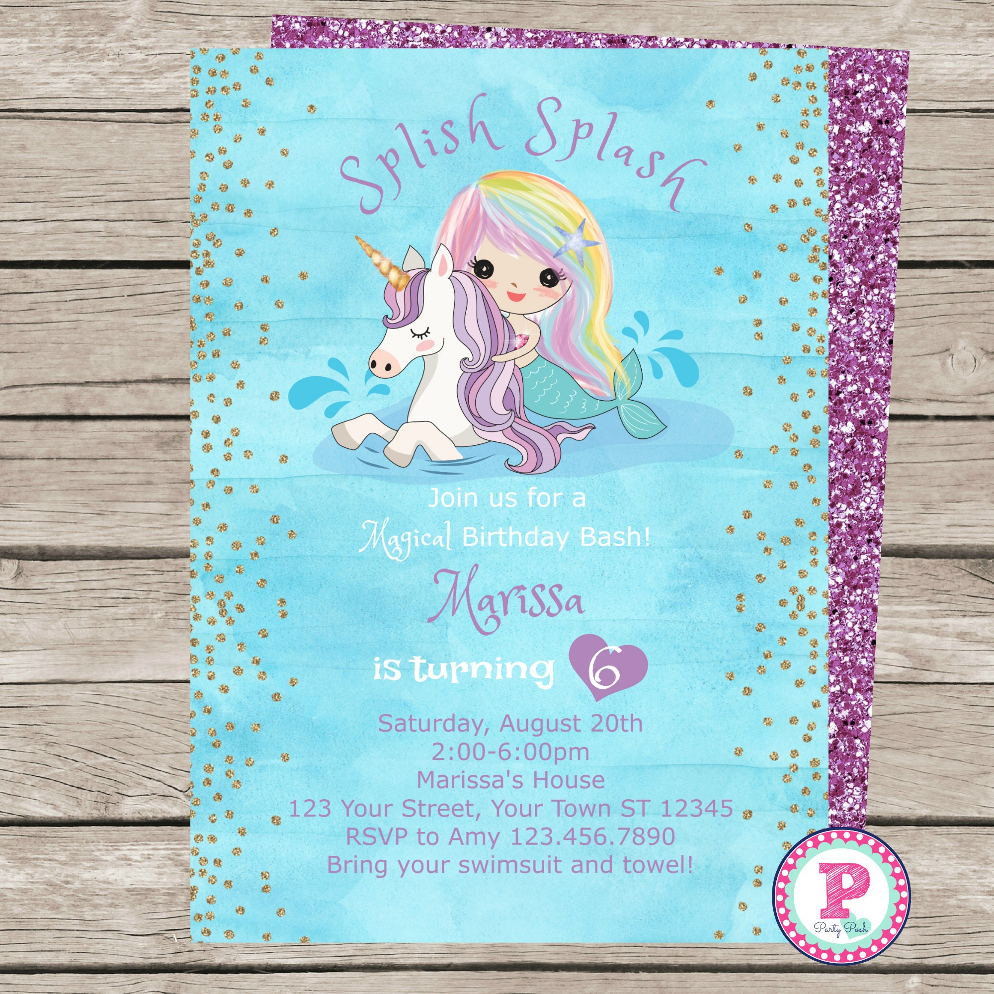 mermaid unicorn watercolor birthday party invitation front