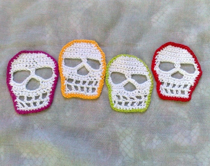 Featured listing image: Halloween skull Crochet for application on party clothes or decoration for Halloween