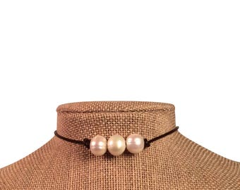 Leather Pearl Choker Brown 3 Pearl Leather Necklace by JL Jewelry & Novelties