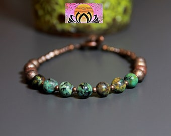 African Turquoise Copper Bracelet-Bohemian Bracelet-Gemstone Bracelet-Beaded Bracelet-Yoga Bracelet-Yoga Jewellery-Copper Boho Jewellery