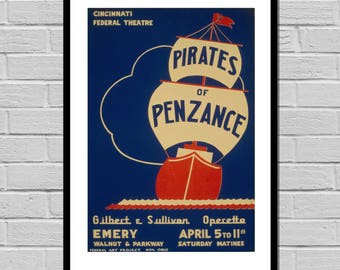 VINTAGE POSTER Pirates of Penzance Musical