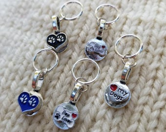 Set of 5 dog lover Snagless Knitting Stitch Markers