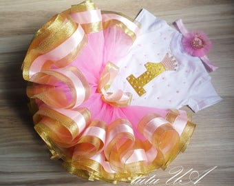First birthday outfit - Gold birthday outfit - pink and gold First birthday outfit - golden tutu outfit, Pink and Gold Personalized Outfit