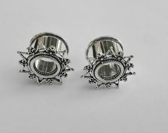 Ear plug Tunnel Silver Color Star Indian Design / expansions Silver Star hindu style 16mm