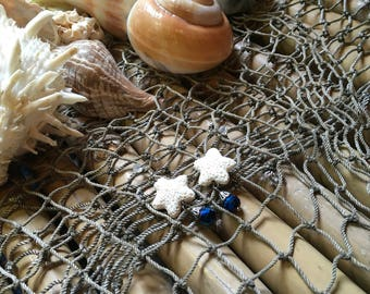 One of a kind Nice N Nautical White coral shell stars and blue bead earrings