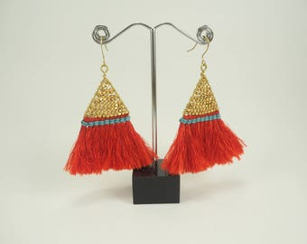 Red Triangle Fringe Earrings
