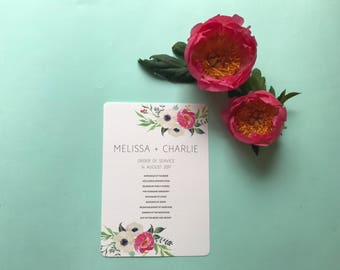 Pink Floral Order of Service -  Modern Rustic Card - Wedding Day Stationery