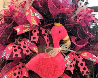 Cute Flamingo Deco Poly Mesh Wreath