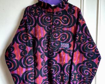 Fleece / Sweatshirt half zip Oxbow Vintage years 80-90 Made in France size M.