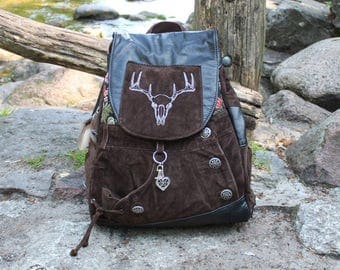 Backpack Bavaria II, Leather backpack, upcycling, German traditional style