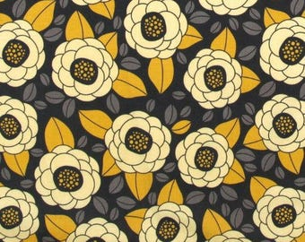 FABRIC PATCHWORK graphite and JOEL DEWBERRY AVIARY yellow