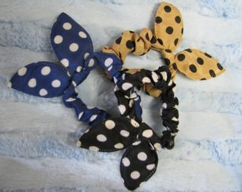 3 fabric covered hair elastics