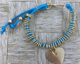 Handmade String Copper Platted in 18k Gold Bracelet with Blue Turquoise Cord and Gold Platted Pendant