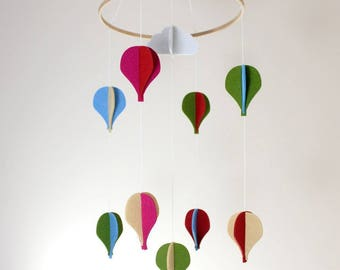 Felt Baby Mobile by Creoly | Hot Air Balloons or Flying Birds