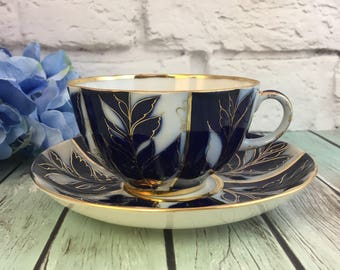 Lomonosov Porcelain Teacup and Saucer Set Winter evening cobalt 22k gold IFZ Russia