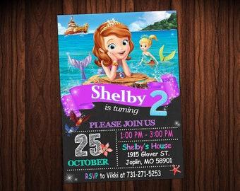 Sofía Mermaid invitación cumpleaños - fiesta de Sofia Mermaid - Sofía invitación - invitación de la sirena - Sofía la primera invitación de cumpleaños