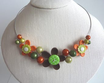 Flower necklace orange green and Brown