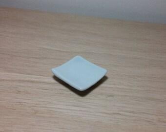 Set of 4 mini square porcelain plates