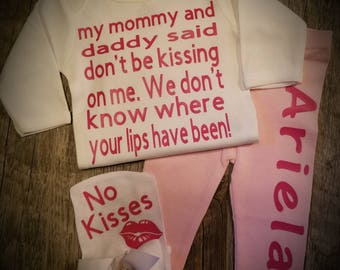 Mommy & Daddy Said No Kissing, Lips,  Kisses, Boys Onesie, Girls Onesie Set, Unisex Baby Sets - Would Make An Adorable Baby Shower Gift Set
