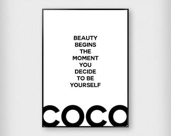 Coco Chanel Quote 2 Print | Fashion | Black and White | Typography - Beauty - Poster