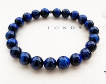 Natural Blue Tigers Eye Stretch Bracelet