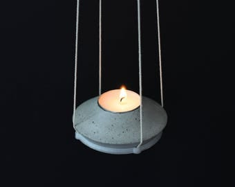 Hanging Tealight Holder, Hanging Candle Holder, Hanging Candle Pot, Tealight, Tea Candle, Concrete Holder, Gift, Home Decor, Lovely Candle