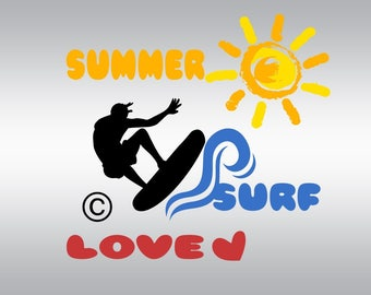 Surf summer love SVG Clipart Cut Files Silhouette Cameo Svg for Cricut and Vinyl File cutting Digital cuts file DXF Png Pdf Eps