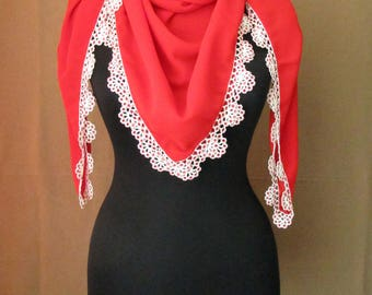 Turkish oya scarf , beaded crocheted trim, beaded crocheted edging scarf, traditional Turkish oya scarf, red square scarf