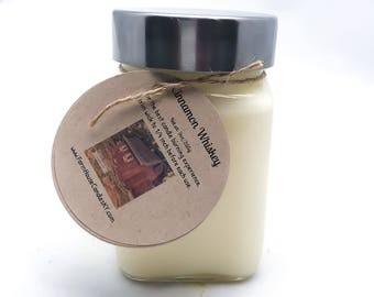 Cinnamon Whiskey Scented Soy Candle 9oz, Soy Candles Handmade, Whiskey Candle, Mason Jar Candle, Woodwick Candles, Gift for Him, Birthday