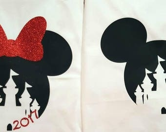 Disney Vacation His and Hers /Mickey Minnie /Heat transfer vinyl/glitter vinyl Decal Only