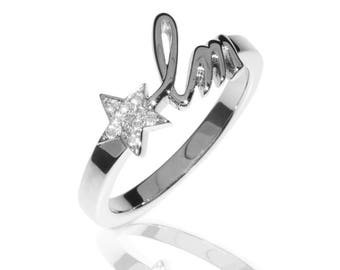 Initial Letters Ring - 18K White Gold